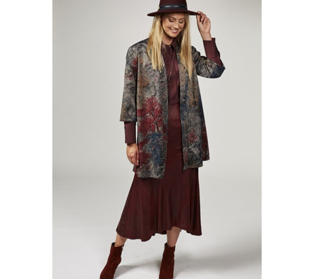Kim & Co Misty Forest Jacquard Kimono Cardigan with Belt