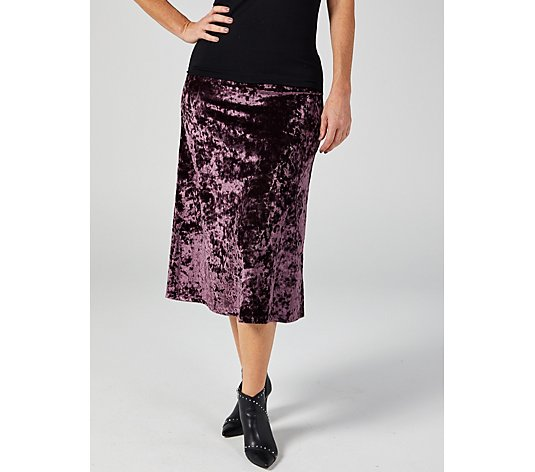 Kim & Co Crushed Velvet Flared Skirt