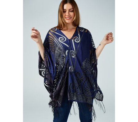 Frank Usher Button Detail Burnout Tassel Cover Up