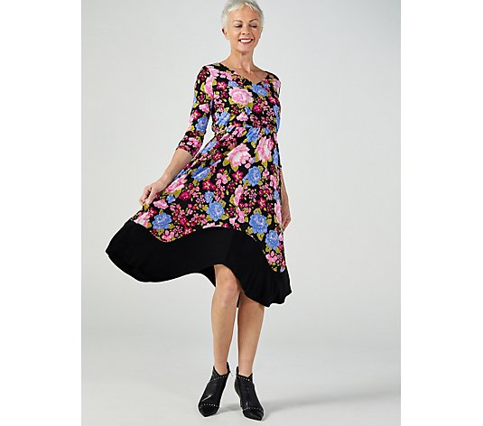 3/4 Sleeve V Neck Blouson Dress with Contrast Hem by Nina Leonard