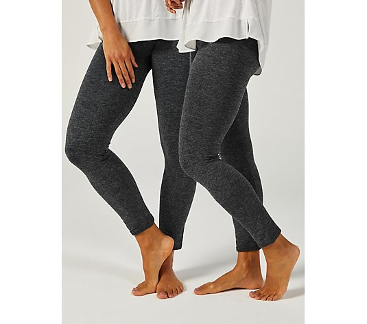 Muk Luks Pack of 2 Marled Fleece Lined Leggings