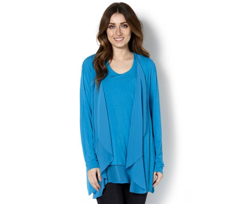 Jersey Cardigan & Top Set with Chiffon Trim by Michele Hope