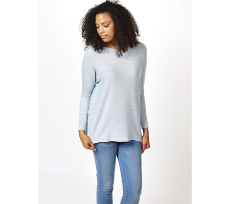 V Neck Boxy Sweater Tunic with Hi-Lo Hem by Nina Leonard