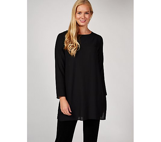 Grace Long Sleeve Chiffon Tunic with Side Split Detail