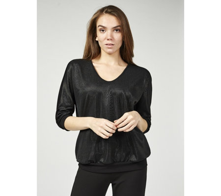 Kim & Co Brazil Jersey Shimmer Techno Knit Front Blouson Top