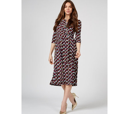 Jolie Moi Lisa Wrap Front 3/4 Sleeve Midi Dress