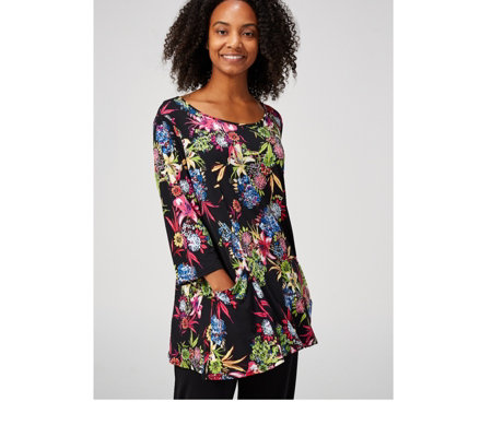 Floral Printed Tunic with Pockets by Michele Hope