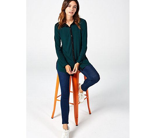 Long Sleeve Collared Button Front Colourblock Shirt by Nina Leonard