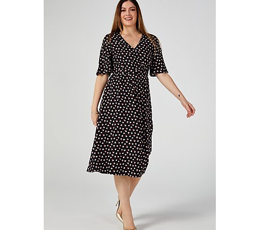 Du Jour Printed Faux Wrap Midi Dress