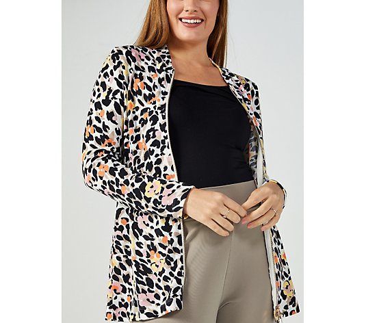 Kim & Co Print Soft Touch Long Sleeve 2 Way Zip Front Cardigan