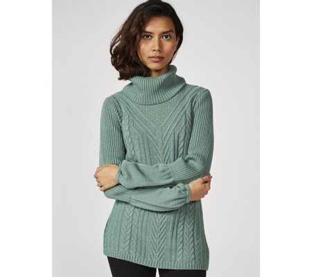 Long Sleeve Ribbed Turtle Neck Knit Jumper by Nina Leonard