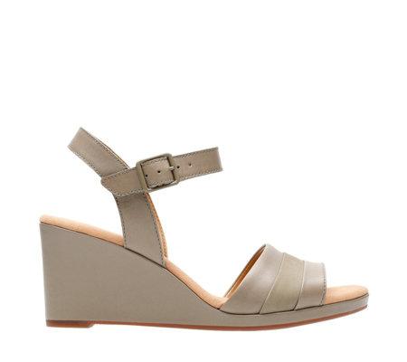 c638130c3c9 Clarks Lafley Aletha Leather Sandal with Wedge Heel Standard Fit ...