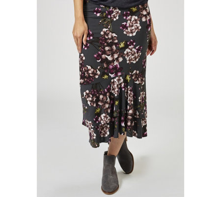 Kim & Co Cheerful Petunias Brazil Jersey Double Flounce Skirt