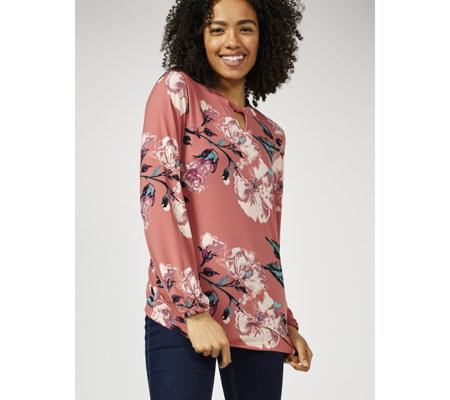 Denim & Co. Printed Long Sleeve Keyhole Top
