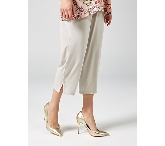 Kim & Co Brazil Jersey Cropped Trousers with Slit & Button Detail