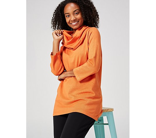 3/4 Sleeve Tunic with Shawl Collar by Michele Hope
