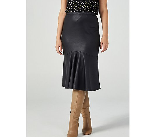 Kim & Co Croco Pleather Flounce Skirt