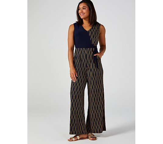 Sleeveless Print & Solid Tie Side Palazzo Jumpsuit by Nina Leonard