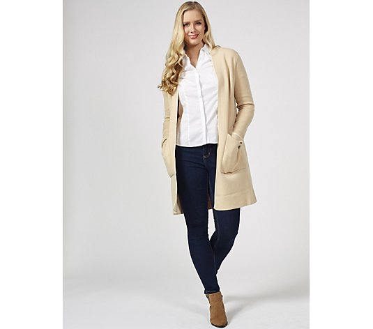 Outlet Centigrade Edge To Edge Knitted Patch Pockets Cardigan