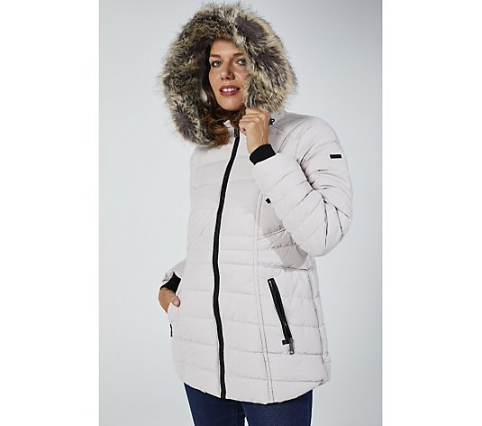 Centigrade Faux Down Short Padded Coat with Hood and Contrast Zips