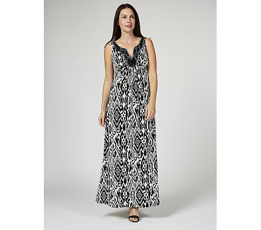 Ronni Nicole Sleeveless Maxi Dress with Beaded Neckline