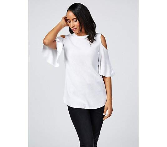 Isaac Mizrahi Live Cold Shoulder Flutter Sleeve Top with Curved Hem