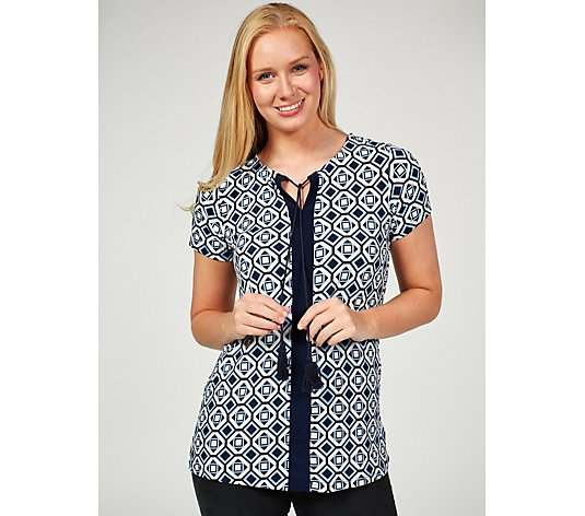 Short Sleeve Printed Tunic with Tassle Tie by Nina Leonard