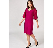 Coco Bianco V Neck Dress with Woven Flutter Sleeves - 173706