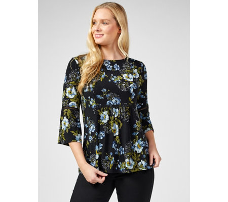 3/4 Bell Sleeve Printed Top with Trim Detail by Nina Leonard