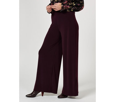 Kim & Co Stretch Crepe Wide Waistband Palazzo Trouser Petite