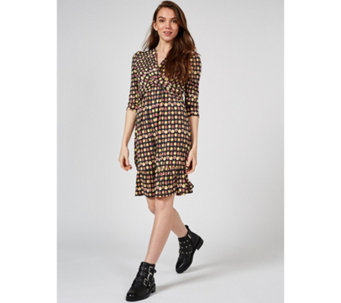 863f3d81d9b Jolie Moi Lisa Wrap Front 3 4 Sleeve Dress Ruffle Hem - 178506