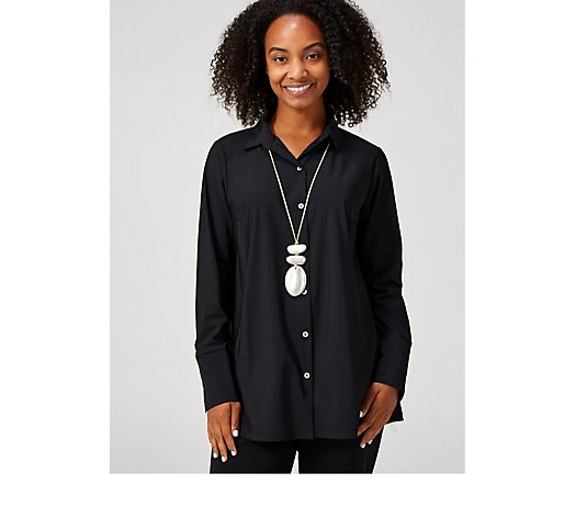 MarlaWynne Stretch Shirt with Pockets & Back Pleats