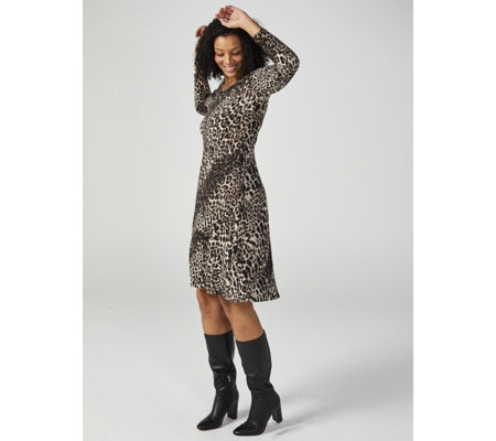 Kim & Co Printed Brushed Venechia Long Sleeve Flared Dress