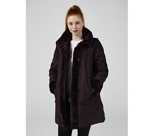 Centigrade Bonded Reversible Faux Fur Coat With Pockets
