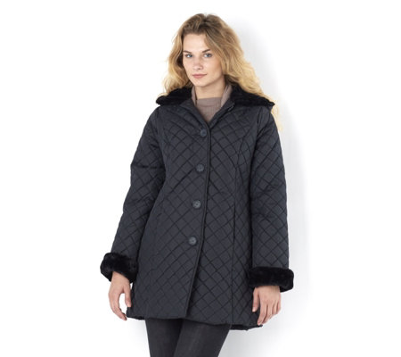 Outlet Dennis Basso Faux Fur Trim Hood & Cuffs Quilted Jacket