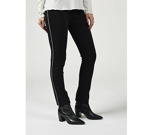 Kim & Co Milano Knit Skinny Leg Trouser with Contrast Piping Regular