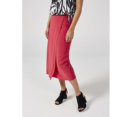 Ben de Lisi Jersey Wrap Midi Skirt with Tie Detail