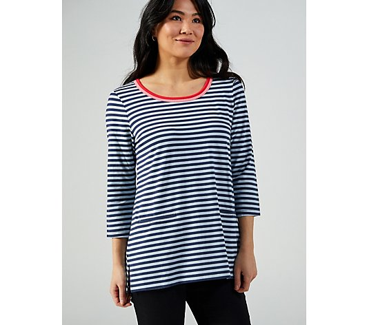 Isaac Mizrahi Live Scoop Neck 3/4 Sleeve Stripe Tunic with Contrast Binding