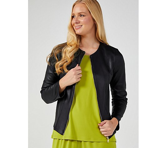 Kim & Co Croco Pleather Knit Zipper Jacket