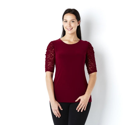 Outlet Lace Sleeved Top with Scoop Neckline by Nina Leonard