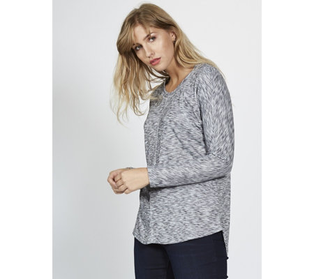 The Lisa Rinna Collection Heathered Dolman Long Sleeve Top