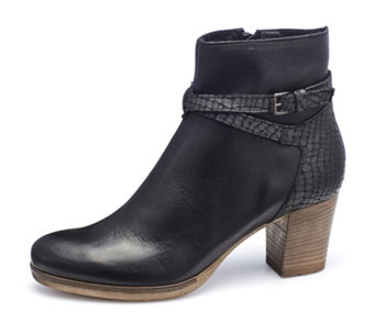 Manas Leather Ankle Boot with Croco Detail - 168208