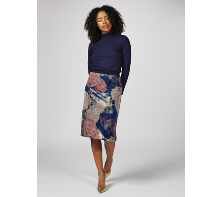 Isaac Mizrahi Live Printed Floral Sequin Pencil Skirt