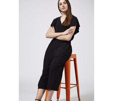 Kim & Co Brazil Jersey Frilled Sleeve Gaucho Jumpsuit with Pockets