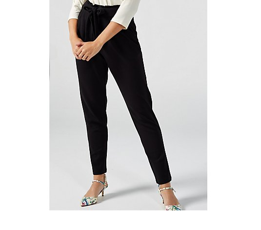 High Tech Crepe Narrow Leg Ankle Trousers with Pleat Waist by Nina Leonard
