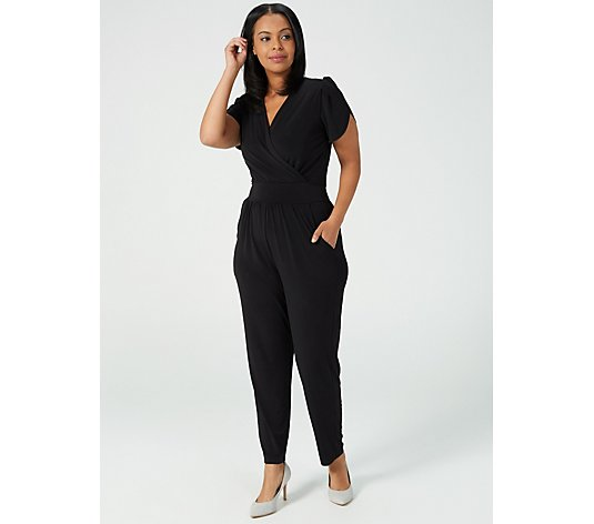 Kim & Co Brazil Jersey Tulip Sleeve Jumpsuit with Pockets