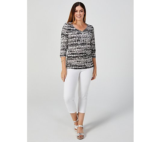 Artscapes Pacific Stripe Button Front Top