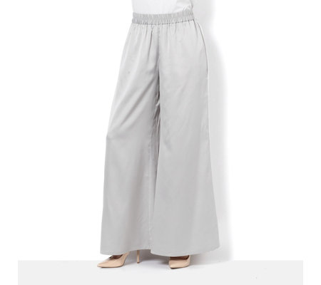 MarlaWynne Matte Shine Front Pleat Detail Palazzo Trouser