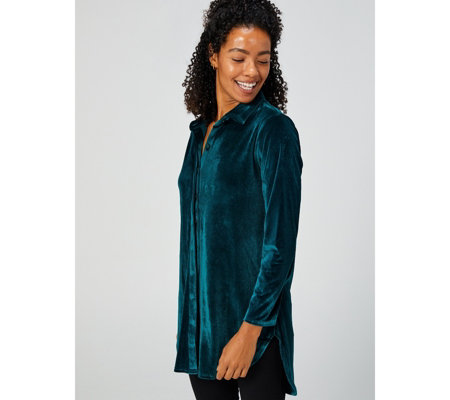 Velvet Placket Front Shirt by Michele Hope