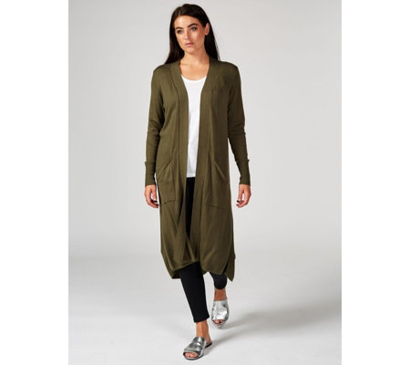 H by Halston Edge to Edge High Low Hem Duster Cardigan Petite